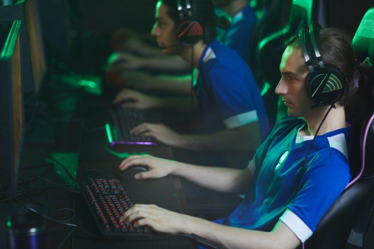 Focused cyber gamer in headset